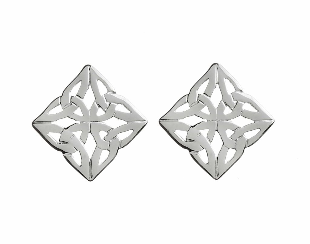 Silver Square Celtic Earring