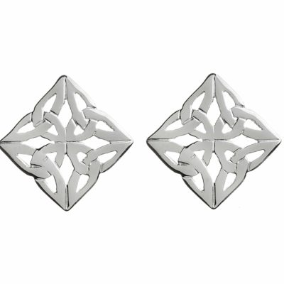 Silver Square Celtic Earring