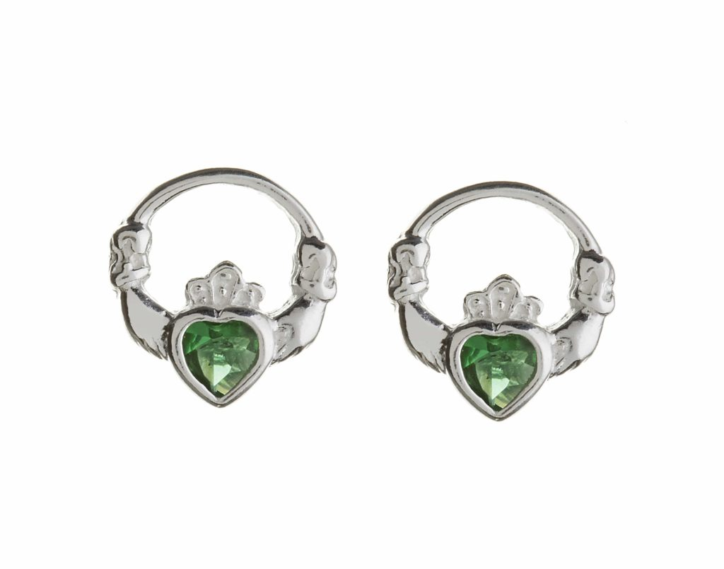 Green Heart Claddagh Studs