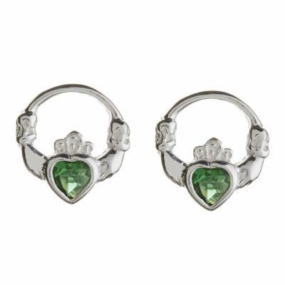 Green Heart Claddagh Studs