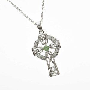 Cz & Green Agate Set Cross