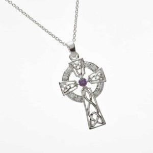 Cz & Amethyst Set Celtic Cross