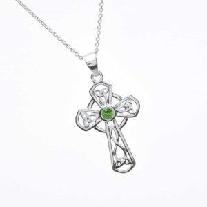 Green Cz Set Celtic Cross