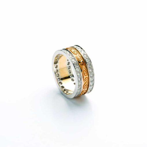 Gold Newgrange Spirals Engraved Narrow Ladies Band