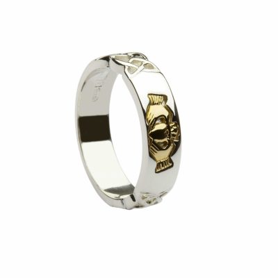 Silver & 10Ct Claddagh Band
