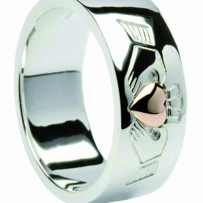 Silver & 10Ct Rose Gold Band