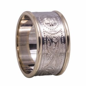 Silver Wide Ardagh Band With Heavy 10Kt Yellow Rims