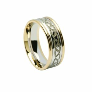 Celtics Gents RIng with Knot Engraved Band and Light Yellow Rim