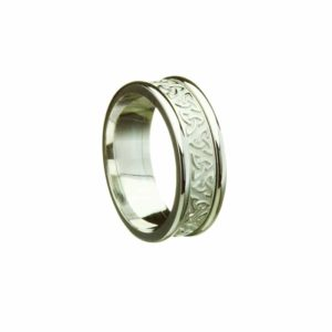 Trinity Knot Patterned Narrow Band, With Light White Gold Rims, Ring for Gents
