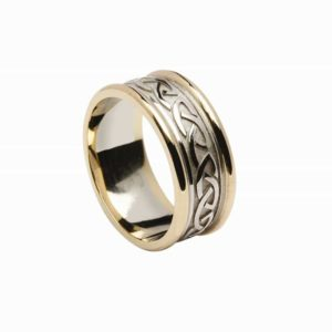 Celtic Knot Raised Pattern Band, With Heavy Gold Rims for Gents