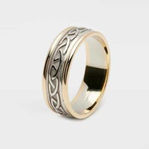 Celtic Knot Raised Pattern Narrow Band, With Light Gold Rims
