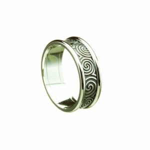 Newgrange Spirals Antique Finish, Engraved Band With White Rims