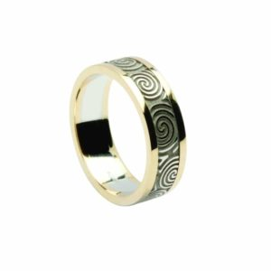 Newgrange Spirals Finish, Engraved Band With Heavy Flat Yellow Rims