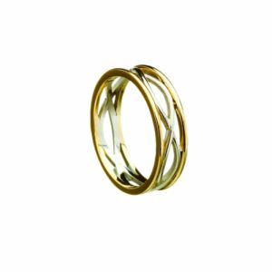 Celtic Weave Narrow Band With Gold Rims