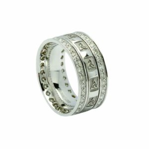 Trinity Knot Square Embossed Narrow Band With 0.75kt Diamond Set Rims