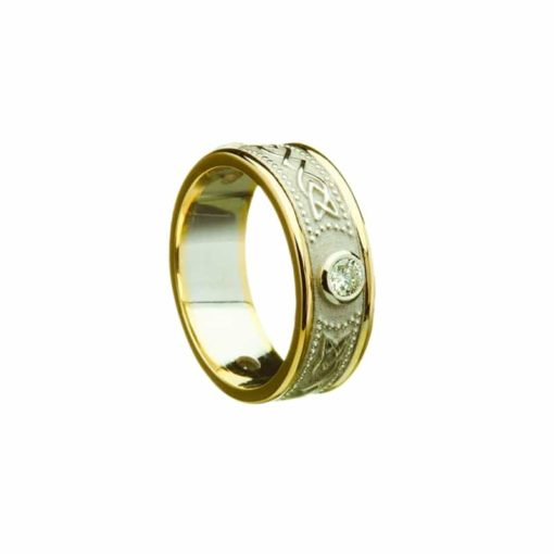 Celtic Shield Pattern With Yellow Gold Light Rims, Wedding Band.