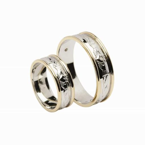 Celtic Claddagh Pattern Narrow Band, White Gold And Light Yellow Rims