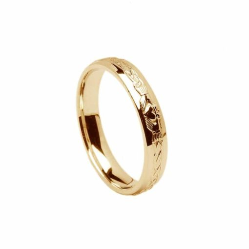 Celtic Claddagh Pattern Narrow Band in Gold
