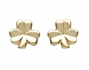 10Ct Gold Small Solid Classic Shamrock Earring