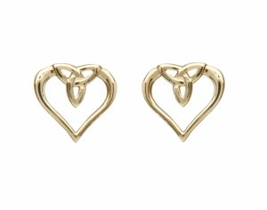 10Ct Gold Trinity Knot Heart Stud Earrings