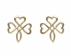 10Ct Gold Open Shamrock Earrings