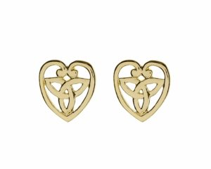 Heart With Trinity Knot in Center Stud Earrings