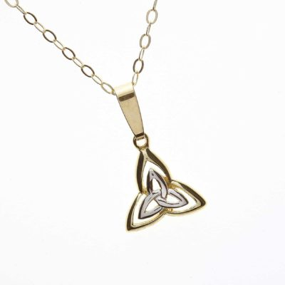 10Ct Gold & Rhodium Trinity Knot Pendant
