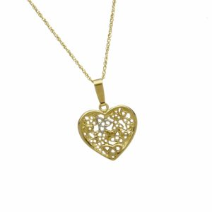 10Ct Gold Heart With Trinity Knot Cascade Pendant