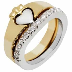 Gold with Diamond Claddagh Ring