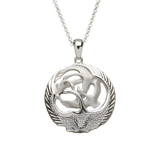Silver Children of Lir 3D pendant small