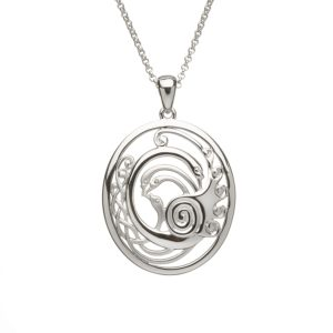 Silver Children of Lir Oval pendant