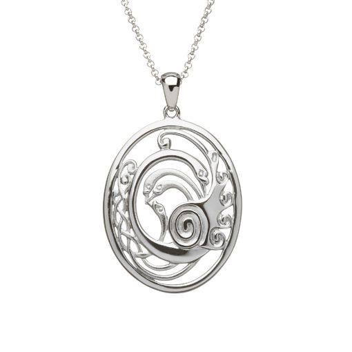 Silver Children of Lir Oval pendant small