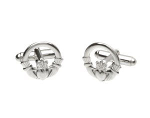 Sterling silver classic Claddagh design cufflinks