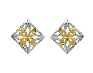 Sterling silver Square Celtic design work stud earrings with yellow gold accents