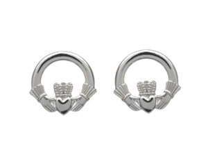 Sterling silver classic Claddagh design stud earrings