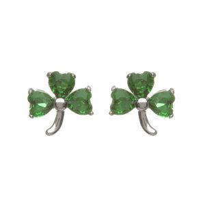 Sterling silver Shamrock design stud earrings set with green cubic zirconia