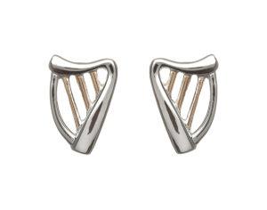 Sterling silver Harp stud earrings