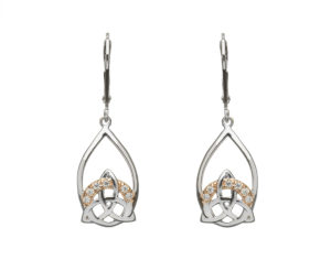 Sterling silver Trinity knot design lever back earrings with cubic zirconia set in rose gold accents