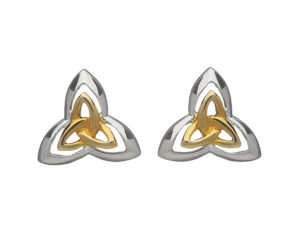 Sterling silver Trinity knot design with inset Trinity knot design stud earrings