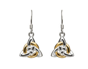 Sterling silver Trinity knot design lever back earring