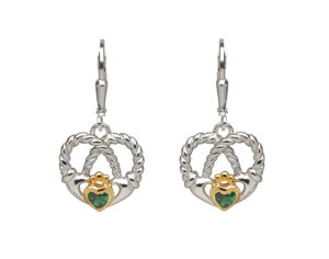 Sterling silver with gold plated Claddagh design heart twisted knot lever back earrings