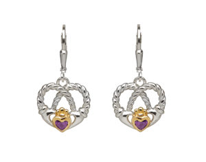 Sterling silver with gold plated Claddagh design heart twisted knot earrings
