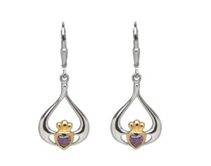 Sterling silver with gold plaited Claddagh design heart lever back earrings