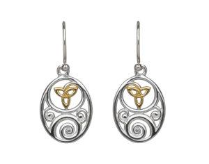 Sterling silver oval Celtic design lever back earrings