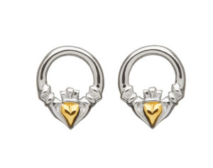 Sterling silver stud Claddagh design earrings with gold plate heart
