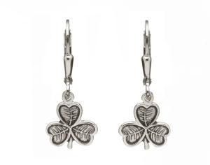 Sterling silver Shamrock design lever back earrings