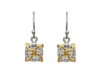 Sterling silver square hook fitting earrings with yellow gold plated Trinity knot and white crystals