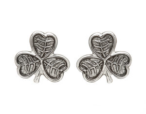 Sterling silver Shamrock design stud earrings with oxidised finish