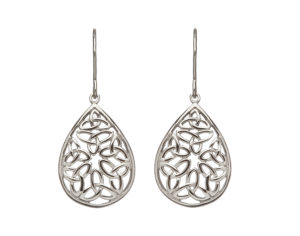 Sterling silver Trinity knot design lever back earrings