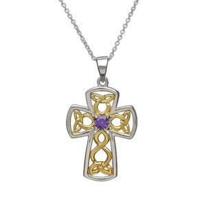 Sterling silver with gold Celtic design filigree cross Pendant